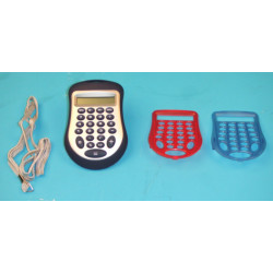 Electronic calculator with 8 digit display has two spare shells