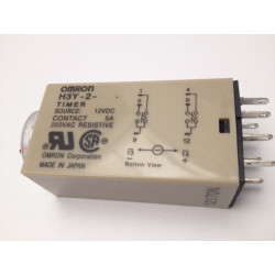 H3y-2 dc 12v delay timer time relay 0-10 minute 10m base electric time lapse 12vdc 2 no nc 5a 250v