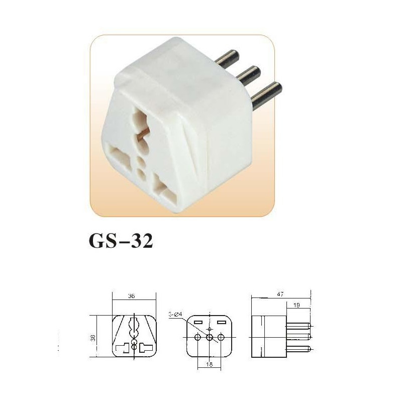 Electric plug adapter italy europe 10a 250v to travel - JR
