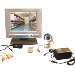 Pack camera color ir night day outside + monitor 18cm lcd tft + cable 20m.