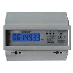 Kwh meter three phase four wire 100a din rail mounting 7 modules emdin03