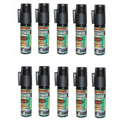 10 spray paralysant bombe lagrymogene gazpm aerosols de defense gaz cs 2% 25ml antiagression gazpm