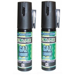2 bombe lagrymogene gazpm aerosols de defense gaz spray paralysant cs 2% 25ml antiagression securit