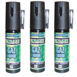 3 aerosols de defense gazpm antiagression gaz spray paralysant bombe lagrymogene cs 2% 25ml securit