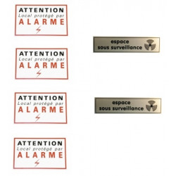 Set of 4 warning labels carefully + 2 labels space under surveillance