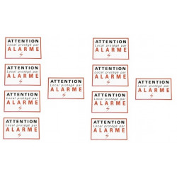 10 etiquettes signalisation adhesive sticker alarme securite autocolant dissuasive protection