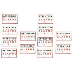 12 etiquettes signalisation adhesive sticker alarme securite autocolant dissuasive protection