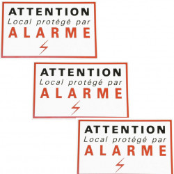 3 etiquettes signalisation adhesive sticker alarme securite autocolant dissuasive protection