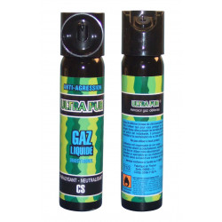 Lot de 2 aerosols gaz paralysant cs 2% 75ml bombe lacrymogene spray légitime défense securite police
