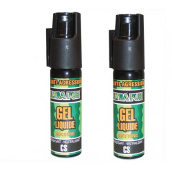 2 aerosols de defense gel paralysant cs 100 25ml arme bombe gelpm lacrymogène spray police securite