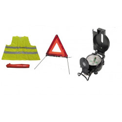 Hq metal liquid compass military look and road safety kit r27 en11 warning triangle + reflective vest xl 471