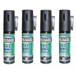 4 Antiagression gazpm bombe aerosol lacrymogene gaz cs cbm 25ml