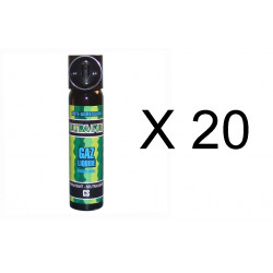Lot de 20 aerosols gaz paralysant cs 2% 75ml bombe lacrymogene spray défense securite police
