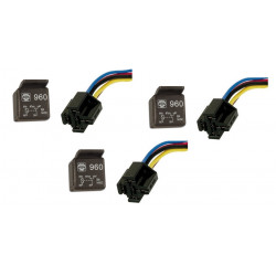 Lot de 3 relais 20a 30a 12v + 3 support automobile 1 contact no/nf 5 pins broches