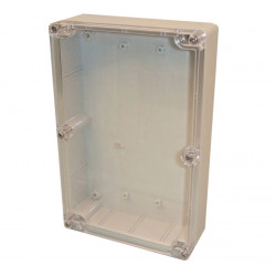 Sealed polycarbonate box light grey with clear lid 220 x 146 x 55mm