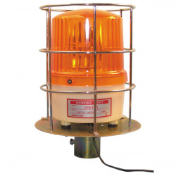 Gyrophare etanche 220vca 10w ambre ip65 protection orange grillage girophare vandale grille 220v