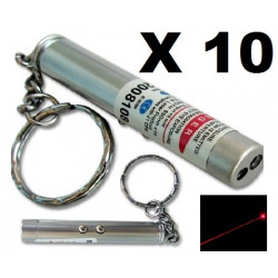 Pack of 10 2in1 red laser pointer w led keychain torch flashlight