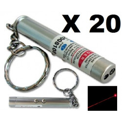 Pack of 20 2in1 red laser pointer w led keychain torch flashlight