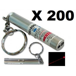 Pack of 200 2in1 red laser pointer w led keychain torch flashlight