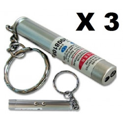 Pack of 3 2in1 red laser pointer w led keychain torch flashlight