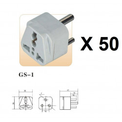 50 International Plug Adapter for South Africa, Lesotho, Namibia and Swaziland, Type M, 3-Pin Grounded Plug, Universal
