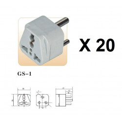20 International Plug Adapter for South Africa, Lesotho, Namibia and Swaziland, Type M, 3-Pin Grounded Plug, Universal