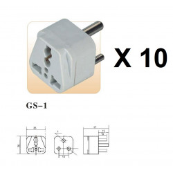 10 International Plug Adapter for South Africa, Lesotho, Namibia and Swaziland, Type M, 3-Pin Grounded Plug, Universal