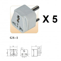 5 International Plug Adapter for South Africa, Lesotho, Namibia and Swaziland, Type M, 3-Pin Grounded Plug, Universal