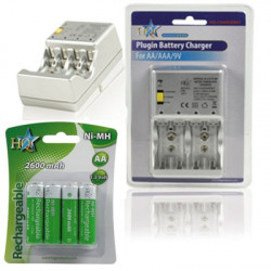Chargeur pile rechargeable nimh aa aaa + 4 batteries lr06 2600mah