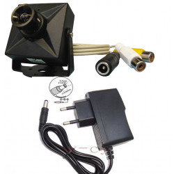 Camera surveillance video audio couleur + alim 220v 8v 1/3 380 lignes securite