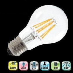 Led bulb lighting with conventional lamp  75w 6w e27 nerve filaments