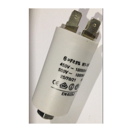 Capacitor 6 micro farad 450v 50 60 hz universal motor start capacitor with  terminal w1 11006 - JR international / Eclats Antivols