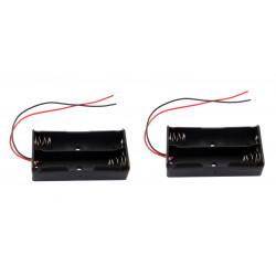 2 X 3.7V Clip Holder Box Case Black With Wire for 2 18650 Battery