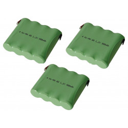 3 X Ni mh pack 4.8v 900mah with solder tags
