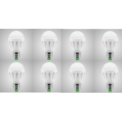 9W E27 LED Intelligent Emergency Bulbs Human Body Induction Rechargeable Lamps with Hook Pack of 8