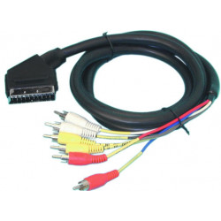 Cable scart connector 6 rca for 1428, tv400, 1.5m peritel scart connector scart connectors 6 rca for 1428, tv400, 1.5m peritel s