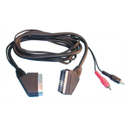 Cable scart connector + 2 rca, 1.5m peritel scart connector scart connectors 2 rca, 1.5m peritel scart connector scart connector