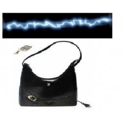 Handle bag for women with integrated alarm and electrified 80.000v transmitter