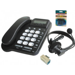 Pack telephone filaire pabx ecoute amplifie main libre 20 no casque amplificateur memoire