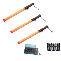 3 traffic baton red lighting traffic+ rechargeable batteries+1 charger 220v