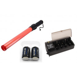 Baton lumineux rouge batterie rechargeable signalisation police route circulation voiture