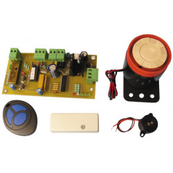 Mini central alarm with remote detection of shock and siren