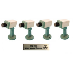 Pack 4 dummy camera + led + support video surveillance fake security cameras + label ''device under surveillance''