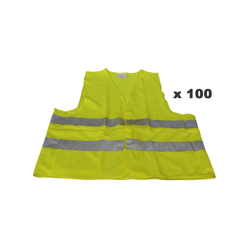 Pack 100 Reflective Vest Size Xl 471 Class 2 In Yellow Vests Road Safety