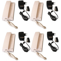Pack 4 kocom white 12vdc 5 way master intercom with mounting bracket. powered by 8 x aa batteries + 4 electric power supply stab