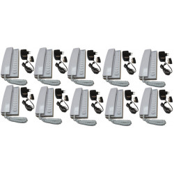 Pack 10 kocom white 12vdc 11 way all master intercom with mounting bracket. powered by 8 x aa batteries + 10 electric power supp