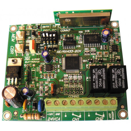 Multi-channel receiver 2 has self-learning rolling code ae/rx433 2ch