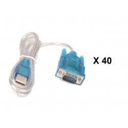Lot de 40 cables de conversion usb vers rs232 db9 serie 9 pin 80cm cable-146/2 HL-340
