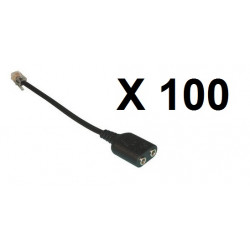 100 X phone adaptor 3.5mm to RJ9 Audio Adapter Cable - 3.5mm audio female socket to RJ9 Modular Plug Adapter Cable for connectin