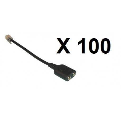 100 X phone adaptor 3 5mm to RJ9 Audio Adapter Cable - 3 5mm audio female  socket to RJ9 Modular Plug Adapter Cable for connectin - JR international /